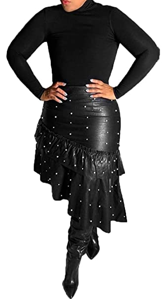 ee0f8ed83f402 LKOUS Leather Skirts for Women PU Pearl Ruffle Asymmetrical Hem Knee Length Black  Skirt Plus Size at Amazon Women s Clothing store