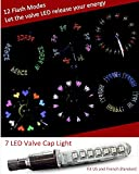 Ezyoutdoor WaterResistant Led Bicycle Safety Wheel Valve Cap Light - 7 LED Bulbs, 12 Flash Modes, Multicolor