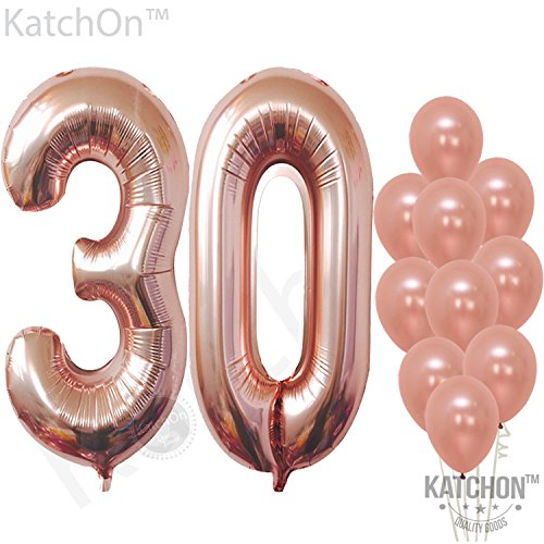 30 Rose Gold Number Balloons  Large,3 and 0 Mylar Rose Gold Balloon | Pack of 10 Latex Rose Gold Balloons,12 Inch | Great for 30th Birthday Decorations Party Supplies, 30 Year Anniversary Celebration