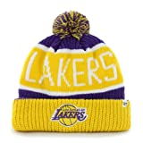 '47 NBA Los Angeles Lakers Brand Calgary Cuff Knit Hat with Pom, One Size, Purple