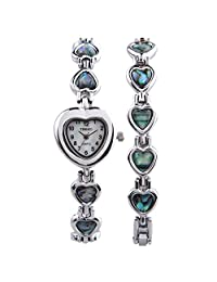 TIME100 Fashion Heart-shaped Shell Dial Abalone Shell Bracelet Ladies Watch#W50131L (silver)