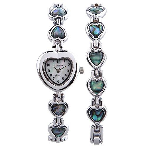 Time100 Ladies Fashion Heart-shaped Shell Dial Steel Bracelet Watch (One Bracelet One Watch) #W50131L.01A (Shaped Watch Heart Ladies)