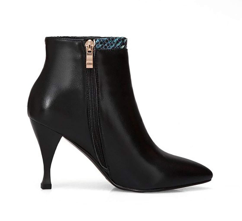 Frauen Stiefelies Leder Spitze Stiletto High Heel Heel Heel und Stiefeletten seitlichen Reißverschluss Farbe passenden Mode Stiefel Herbst neu,38EU 417124