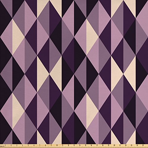 Upholstery Fabric Plum (Geometric Fabric by the Yard by Ambesonne, Abstract Stylized Triangles with Dark and Pale Color Shades, Decorative Fabric for Upholstery and Home Accents, Ivory Dark Purple Lilac Plum)