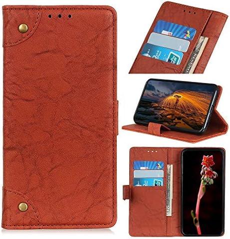 あなたの携帯電話を保護する 銅バックルレトロクレイジーホーステクスチャ水平フリップレザーケースギャラクシーA20e用、ホルダー付き&カードスロット&ウォレット (色 : 褐色)