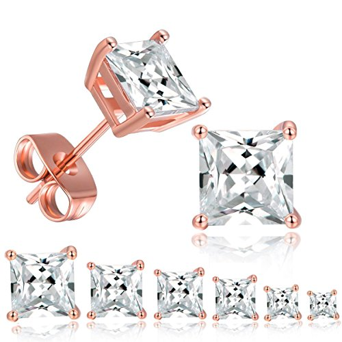 MDFUN 18K Rose Gold Plated Princess Cut Clear Cubic Zirconia Stud Earring Pack of 6 Pairs (6 Pairs)