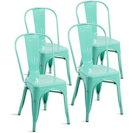 Merax Set Of 4 Metal Chairs Stackable Dining Room Chairs For Indoor Outdoor Use Bluish Green
