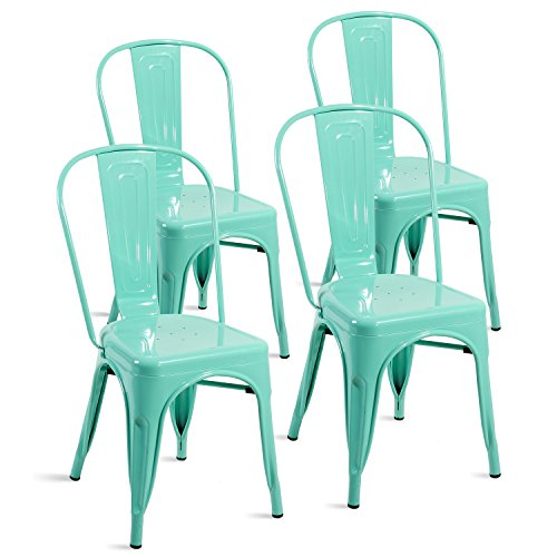 Merax Set of 4 Metal Chairs Stackable Dining Room Chairs for Indoor/Outdoor Use (Bluish Green)