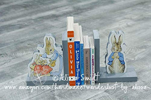 Peter Rabbit/Beatrix Potter Wooden Bookends - Custom Created (classic Winnie the Pooh bookends, piglet, pooh bear, tigger)
