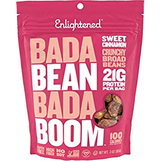 Bada Bean Bada Boom Plant-based Protein, Gluten Free, Vegan, Non-GMO, Soy Free, Kosher, Roasted Broad Fava Bean Snacks, Sweet Cinnamon, 3 Ounce (6 Count)
