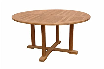 Amazoncom Anderson Teak Tosca Round Table Feet Patio Dining - Anderson round table