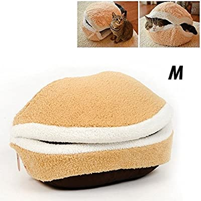 Shell Dog Cat Pet Sleeping Bed Bag Nest House Kennel Kitty Hamburger Warm Hiding S/M Size