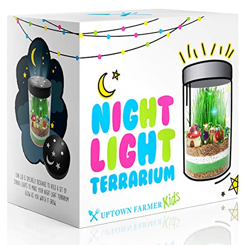 Terrarium Kit for Kids - Toys for Girls or Boys - Science Crafts Garden Kits With LED Fairy Lights - DIY Art Stem Growing Experiments Great Birthday Gifts For 4 5 6 7 8 9 10 year old Children