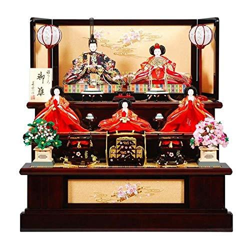 雛人形 五人揃三段飾り 【舞桜】セット 30号(5人)[幅90cm] 花梨塗[sb-3-42] 雛祭り   B07KVX6PSJ
