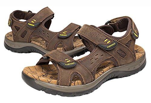 Mens Outdoor Leather Sandals Sports PhiFA Dark Beach Brown Fisherman Summer On7RFxg