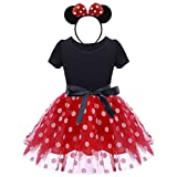 Infant Baby Toddlers Girls Christmas Polka Dots Leotard Birthday Princess Bowknot Tutu Dress Halloween Xmas Cosplay Pageant Cute Mouse Dress up Fancy Costume Party Outfits with Headband 4 Years