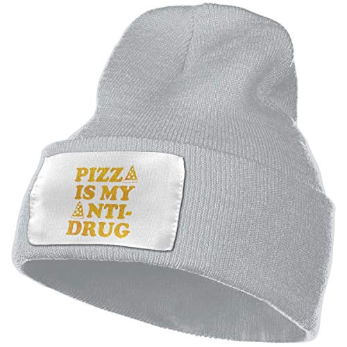 HR Adult's Pizza is My Anti Drug Elastic Knitted Beanie Cap Winter Warm Skull Hats (Best Anti Concussion Football Helmets)