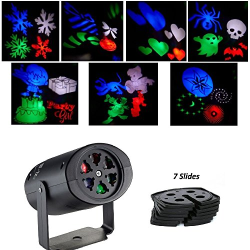[PXL-BA Indoor LED Projection Lights Multicolor Rotating RGB LED Projector Lights with 7PCS Interchange Slides for Halloween, Christmas, Birthday, Wedding, Party, Kids Room, Home] (Halloween Decor For Home)