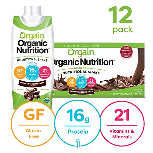 Orgain Organic Nutritional Shake, Creamy Chocolate Fudge - Meal Replacement, 16g Protein, 21 Vitamins & Minerals, Gluten Free, Soy Free, Kosher, Non-GMO, 11 Ounce, 12 Count (Packaging May Vary)
