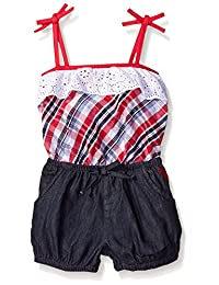 U.S. Polo Assn. girls 2 Piece Eyelet Ruffle Tank Top and Bubble Denim Short Romper