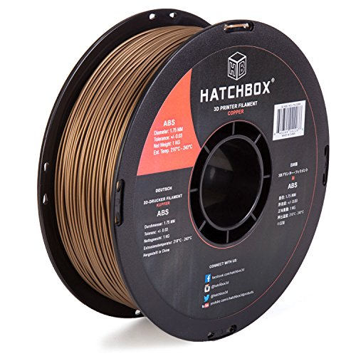 HATCHBOX 3D ABS-1KG1.75-COPR ABS 3D Printer Filament, Dimensional Accuracy +/- 0.05 mm, 1 kg Spool, 1.75 mm, Copper