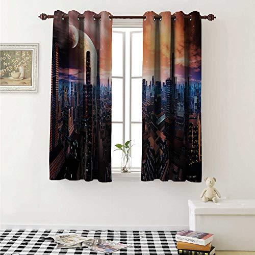 shenglv City Waterproof Window Curtain Futuristic Cityscape on