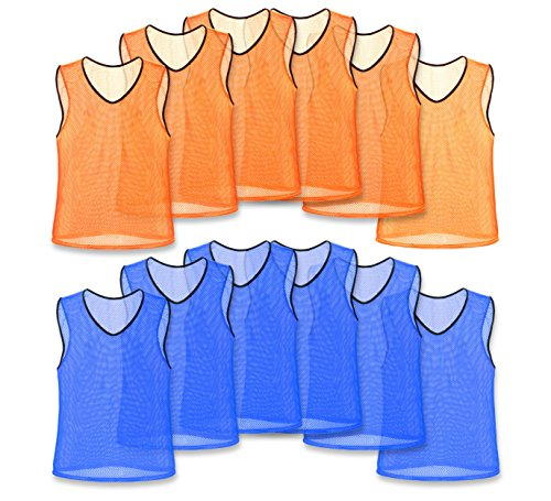 Unlimited Potential Nylon Mesh Scrimmage Team Practice Vests Pinnies Jerseys for Children Youth Sports Basketball, Soccer, Football, Volleyball (6 Orange / 6 Blue, Adult)