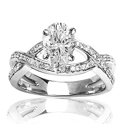 0.75 Ctw 14K White Gold Intertwining Twisting Split Shank Designer Pear Cut Diamond Engagement Ring (0.5 Ct D Color SI2 Clarity Center Stone) ()
