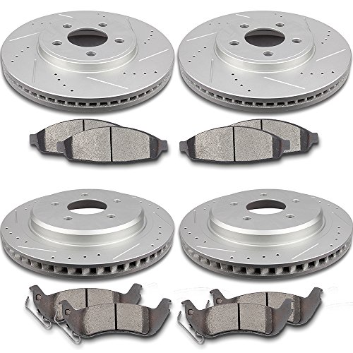 SCITOO Brake Kit Front Rear Discs Brake Rotors and Ceramic Brake Pads for 2003-2011 Ford Crown Victoria,2003-2010 Mercury Grand Marquis,2003-2004 Mercury (Crown Victoria Front Brake Pads)