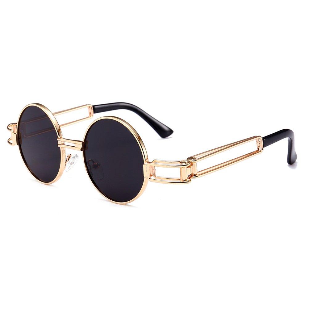 b97791a95a Amazon.com  Small Round Sunglasses Men Gold Metal Frame Retro Vintage Sun  Glasses for Women (black)  Clothing