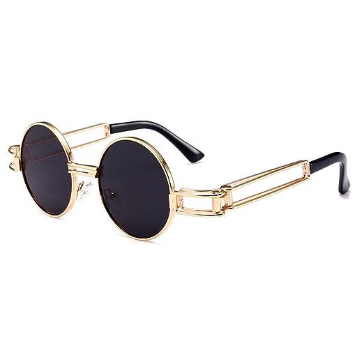 0aa5ed17081 Small Round Sunglasses Men Gold Metal Frame Retro Vintage Sun Glasses for  Women (black)