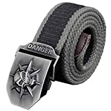 MFrannie Big Boys 3D Pirate Skull Pattern Canvas Cotton Casual Web Belt Black Wide Stripe