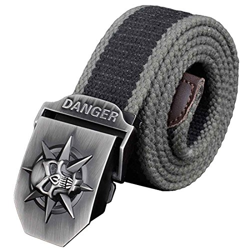 Nidicus Stylish Horror Skull Cotton Canvas Military Web Belt Strap Leather Tip GrayBlack Stripe 110