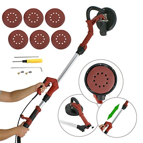 F2C 710W Variable 7 Speed Folding Electric Drywall Disc Sander W/Telescopic Frame 13 Feet Hose & Free 6 Sanding Pads by F2C