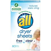 all Fabric Softener Dryer Sheets for Sensitive Skin, Free Clear, 80 Count
