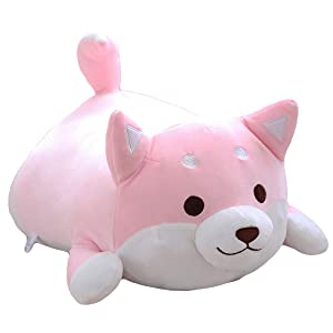 Shiba Inu Dog Plush Pillow,Soft Cute Corgi Stuffed Animals Doll Toys Gifts for Valentine, Christmas, Birthday, Bed, Sofa Chair (Pink Round Eye, 21.3in)