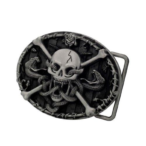 Buckle Rage Adult Mens Skull & Crossbones with Snakes Western Belt Buckle Silver