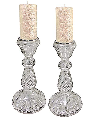 Fluted Pillar Candle - Mercury Glass Fluted Candle Holders Pillar w Glitter Candles Set 2 19