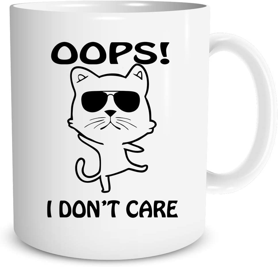 Oops! I Don't Care 11oz Ceramic Coffee Mug - Ideal Gift for Cat Lovers Home Office Women Present - Funny Grumpy Middle Finger Pet Cats - Great Gift Idea For Cats Lovers by Funnwear