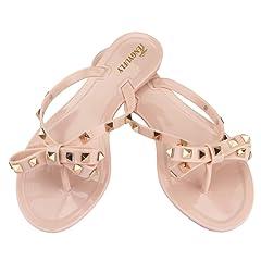 ba1dcd507 Tengyufly Womens Rivets Bowtie Flip Flops Jelly Thong Sandal Rubber Flat  Summer Beach Rain Shoes - Casual Women s Shoes