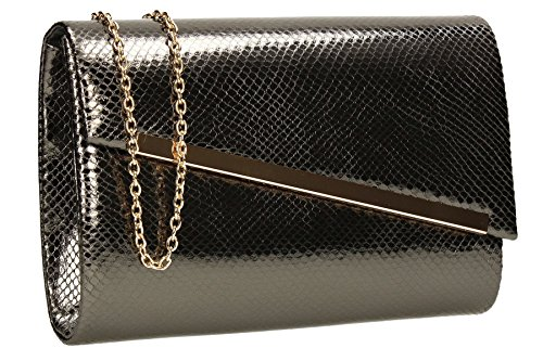 Womens Bag Clutch Snakeskin SWANKYSWANS Grey Party Ladies Leather Prom Isla Wedding Bag Shiny aqtaS