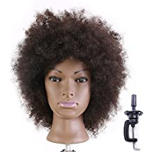 HAIREALM Afro Mannequin Head 100% Human Hair Hairdresser Training Head Manikin Cosmetology Doll Head (Table Clamp Stand Included) HI0208D