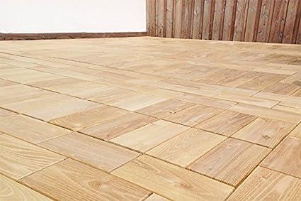 Pavimentazione in legno con sistema a scatto, assicelle per terrazzo ...