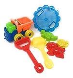 Beach Sand Toys Set Dump Truck, Shovels, Rakes & 3 Shape Molds (dog, Dinosaur and fish)