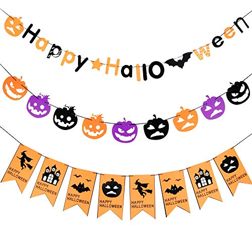 Halloween Banners Bunting with Pumpkin Signs Bat Stars Halloween Party Supplies Decorations Hanging Banners - Halloween Theme Party Decorations Supplies, Home Decor Hanging Photo Props by Flecom