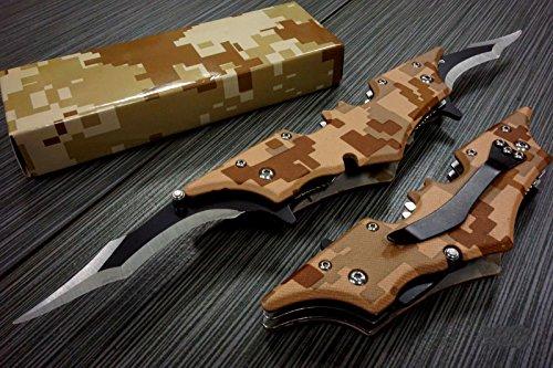 Batman Dark Knight Bat Spring Assisted Open Folding Double Blade Dual Twin 5 Colors Pocket Knife Tactical Belt Clip Desert Digi Camo Silver Blue Red Knives (Brown Camo)