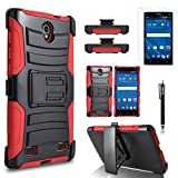 ZTE Zmax 2 Case, Combo Rugged Shell Cover Holster with Built-in Kickstand and Holster Locking Belt Clip + Circle(TM) Stylus Touch Screen Pen And Screen Protector Red