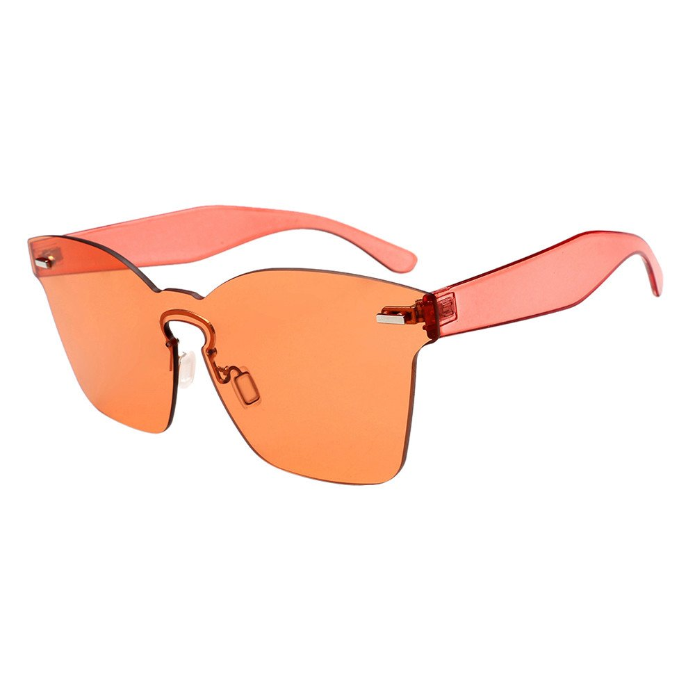 KCPer Fashion Men Womens Vintage Round Frame UV Protection Glasses Retro Unisex Square Oversized Butterfly Sunglasses Outdoor (Orange)