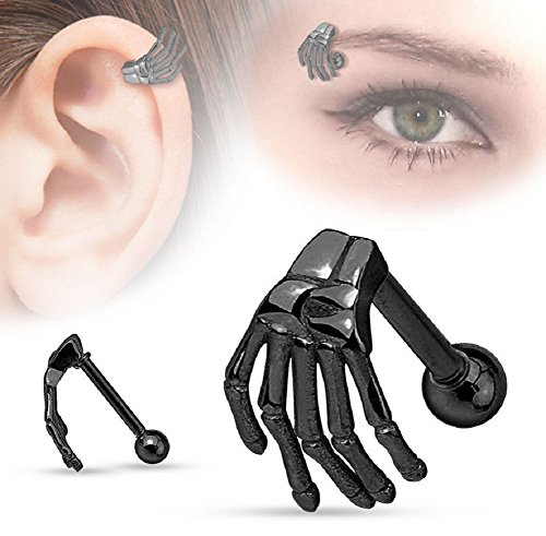 Yuren Punk Gothic Stainless Steel Skull Claw Ear Helix Stud Skeleton ghost hand earrings nose ring eyebrow nail (black) (Plated Ring Black Eyebrow)
