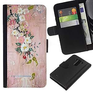 KingStore / Leather Etui en cuir / LG G3 / Pintura floreciente del arte del árbol;